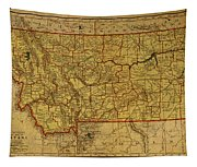 Vintage Map Of Montana Tapestry