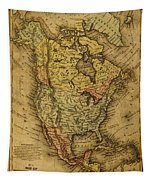 Vintage Map Of North America 1858 Tapestry