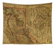 Vintage Map Of Northern California Tapestry