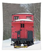 Vintage Red Caboose In Winter Tapestry