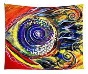 Violet Fish On Red And Yellow Tapestry