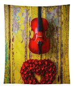 Violin And Heart Wreath Tapestry