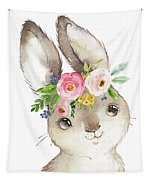 Watercolor Boho Bunny Rabbit Art Print Tapestry