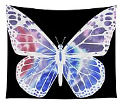 Watercolor Butterfly On Black V Tapestry