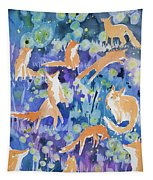 Watercolor - Fox And Firefly Design Tapestry