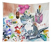 Watercolor - Kitten On My Painting Table Tapestry