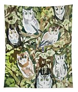 Watercolor - Screech Owl And Forest Design Tapestry