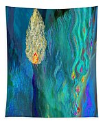 Watery Abstract Xviii - Women And Candles Tapestry