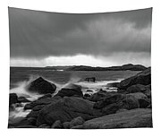 Waves Hitting The Rocks Tapestry