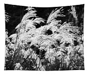 Weed Grass Black And White Tapestry