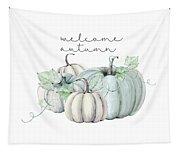 Welcome Autumn Blue Pumpkin Tapestry