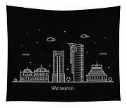 Wellington Skyline Travel Poster Tapestry