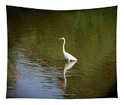 White Egret In Water Tapestry