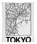 White Map Of Tokyo Tapestry