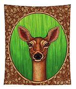 White Tailed Doe Portrait - Brown Border Tapestry by Amy E Fraser