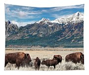 Wild Bison On The Open Range Tapestry