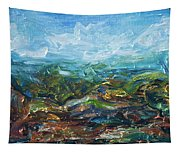 Windy Day In The Grassland. Original Oil Painting Impressionist Landscape. Tapestry