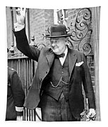 Winston Churchill Showing The V Sign Tapestry