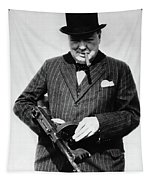 Winston Churchill With Tommy Gun Tapestry