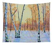 Winter Birches-cardinal Left Tapestry