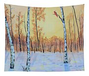 Winter Birches-cardinal Right Tapestry