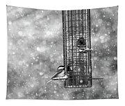 Winter Blessing Chickadee Tapestry