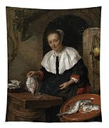 Woman Cleaning Fish Tapestry