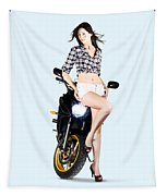 Woman Leaning On A Motorbike Tapestry