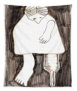 Woman With A Wooden Leg Drawing Tapestry