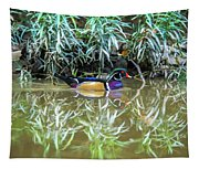 Wood Duck Reflection Tapestry