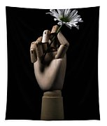 Wooden Hand Holding Flower Tapestry