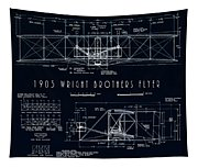 Wright Bros Flyer Aeroplane Blueprint  1903 Tapestry