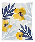 Yellow And Navy 1- Floral Art By Linda Woods Tapestry