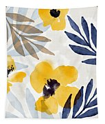 Yellow And Navy 3- Floral Art By Linda Woods Tapestry