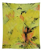 Yellow Blooms Coral Accents Tapestry