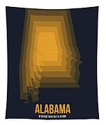 Yellow Map Of Alabama Tapestry