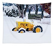 Yellow Tractor In The Snow Tapestry
