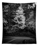 Yellow Tree In The Curve In Black And White Tapestry
