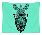 Zebra In Glasses Tapestry