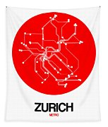 Zurich Red Subway Map Tapestry