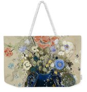 A Vase Of Blue Flowers Weekender Tote Bag by Odilon Redon