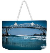 Blue Water Bridges With Reflection And Ice Flow Weekender Tote Bag