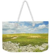 Blueberry Field With Blue Sky And Clouds In Maine Weekender Tote Bag