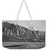Colorado Rocky Mountains Flatirons With Snow Covered Twin Peaks Weekender Tote Bag