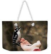 Downy Woodpecker In Hand Weekender Tote Bag