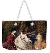 English Bulldog Art Canvas Print - Les Fiances Weekender Tote Bag