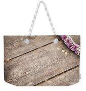 Flower Frame On On Wood Background Weekender Tote Bag