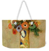 Flowers In A Painted Vase Weekender Tote Bag by Odilon Redon