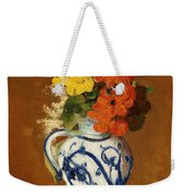 Geraniums And Other Flowers In A Stoneware Vase Weekender Tote Bag