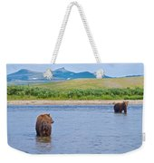 Grizzly Bears Looking At Each Other In Moraine River In Katmai Np-ak  Weekender Tote Bag